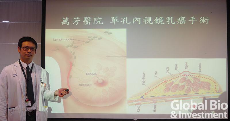 20160823-萬芳醫院一般外科主任張渭文醫師說明單孔乳癌內視鏡手術GBI