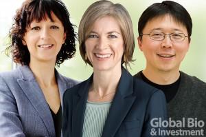 唐獎第二屆生技醫藥獎得主。左起:伊曼紐•夏彭提耶、珍妮佛•道納及張鋒。(圖/本刊資料中心)