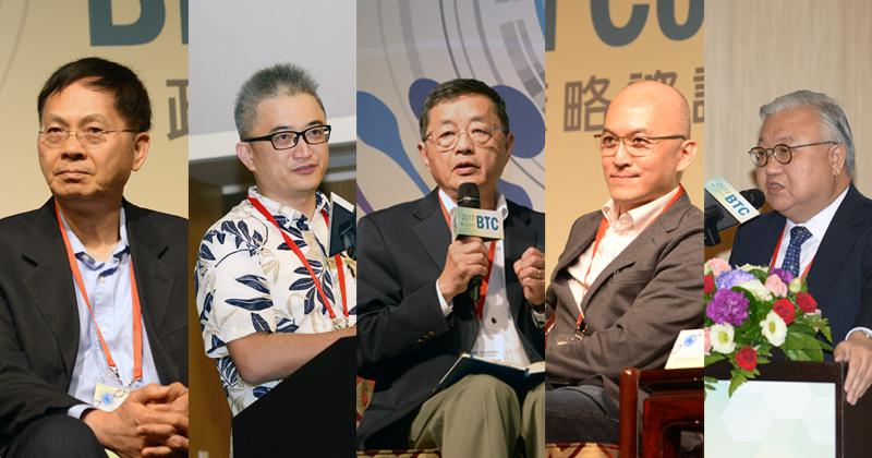 左起依序為BioLegend創辦人賴正光、台灣人工智慧實驗室創辦人杜奕瑾、育世博生技董事長楊育民、AppWorks之初創投合夥人程九如、臺北醫學大學講座教授閻雲。(圖/林嘉慶)
