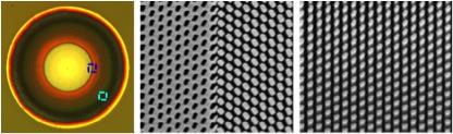 寬頻消色差超穎透鏡之光學照片和電子顯微鏡照片。