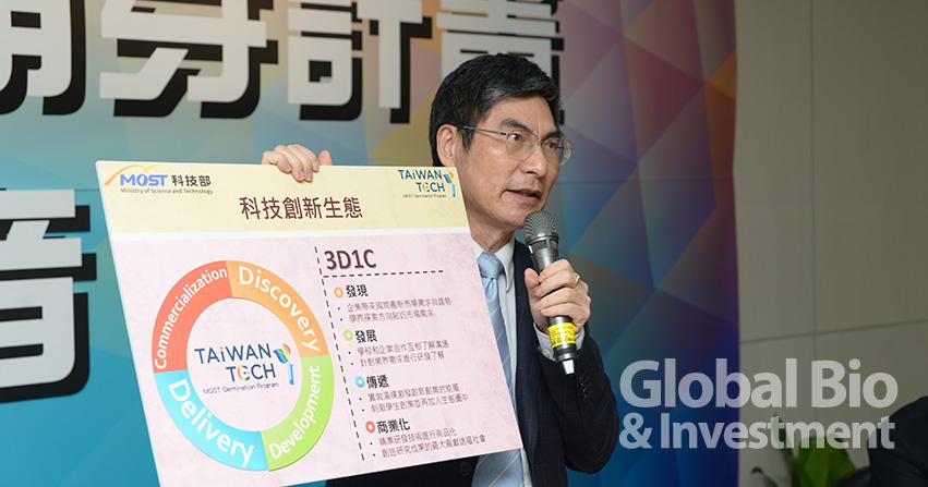 科技部長陳良基在今年5 月的記者會上 表示,應該將具有商業潛力的臺灣頂尖 研發成果技術,善加輔導應用於市場。