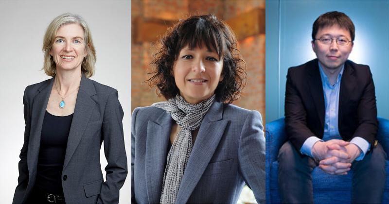 Jennifer Doudna博士(左)、Emmanuelle Charpentier博士(中)及張鋒博士(右) (圖片來源:網路)