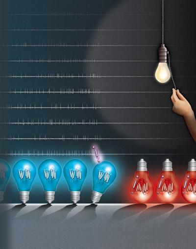 """藍色燈泡代表正常方向的通道視紫紅質蛋白。藍光""""打開""""這些蛋白質,激活神經元。當一種新的蛋白質(紫色)融合到這個視蛋白上時,它的方向翻轉(紅燈泡)。然後它被紅光激活並充當神經元抑製劑。(圖片來源:Howard Hughes Medical Institute)"""
