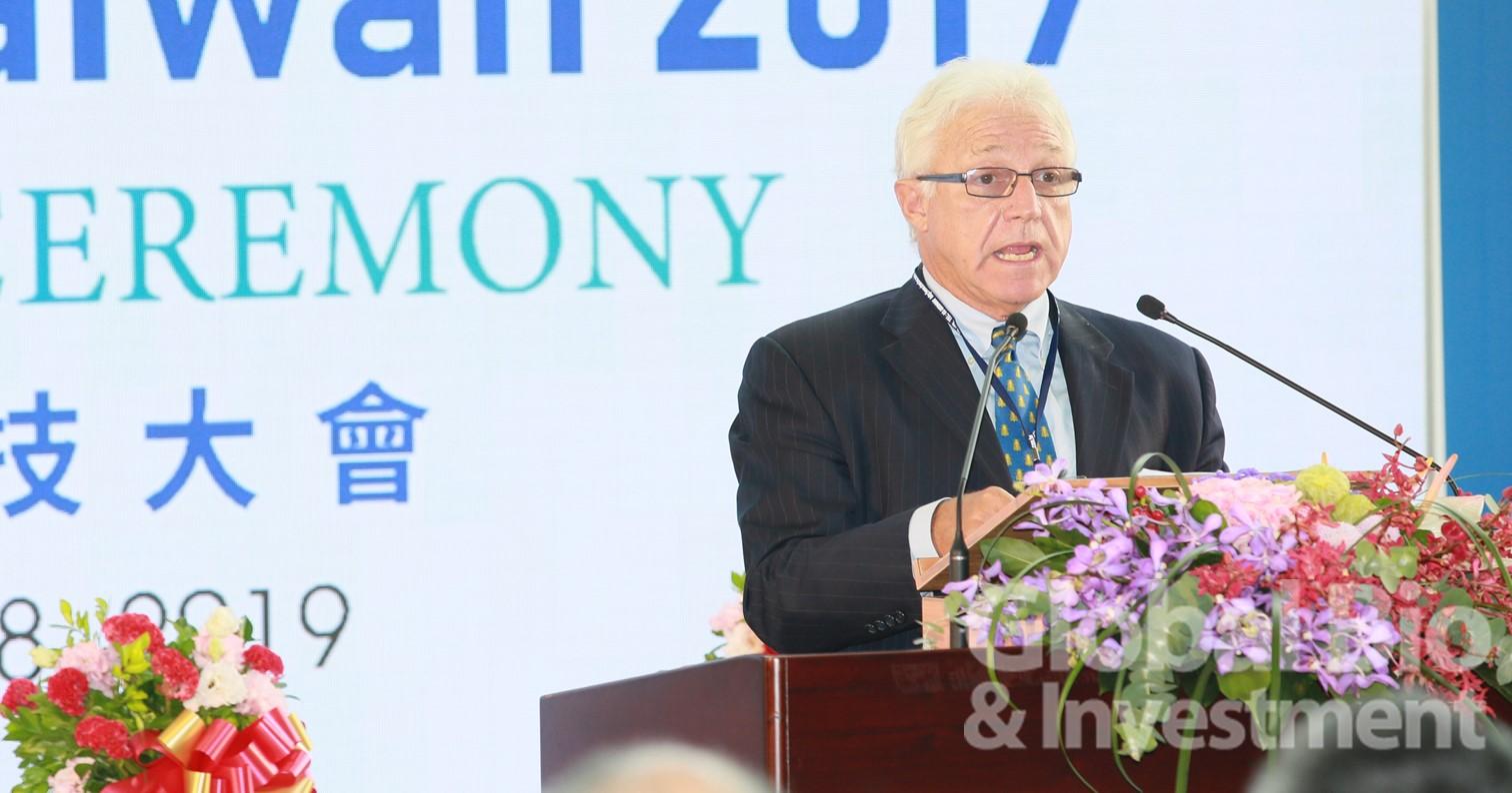 全球BIO主席James Greenwood表示,臺灣擁有潛力成為生技產業領域明日的領導者。(攝影:彭定凱)