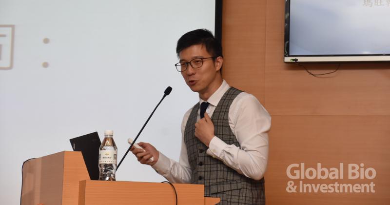 瑪旺行銷長洪唯倫表示,作為非鎖定癌症治療的幹細胞公司,瑪旺將自身定位為專業的皮膚細胞療法提供者。(攝影/巫芝岳)