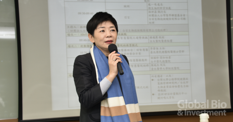 台灣醫界聯盟基金會執行長林世嘉表示,智慧醫院是一項從就醫流程開始就整合所有醫療科技的場域。(攝影/彭梓涵)