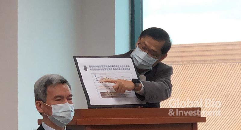 國家衛生研究院感染症與疫苗研究所所長廖經倫,為目前開發的試劑說明。(攝影:彭梓涵)