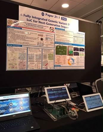 由臺灣大學、交通大學與國研院半導體研究中心合作開發出的基因定序資料分析運算專用晶片,在今年的ISSCC會議展出。(本圖由國研院提供)