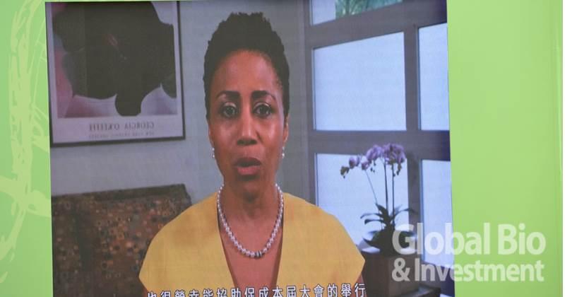 全球BIO主席Michelle McMurray-Heath以影片致詞開幕。(攝影:李林璦)