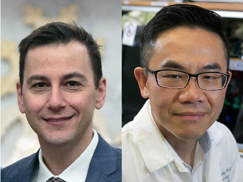UCLA肝癌中心主任Vatche Agopian (左))醫學院藥理系教授曾憲榮 (右),獲美NCI獎助577萬美元,。將致力於開發兩項無創奈米檢驗技術。(圖片/駐洛杉磯辦事處提供)