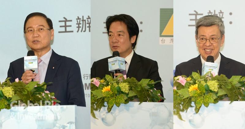 台灣生物產業發展協會理事長李鍾熙(圖左)賴清德副總統(中間)、產協首席顧問前副總統陳建仁(由),期盼生技成為下一個兆元產業。(攝影/林嘉慶)